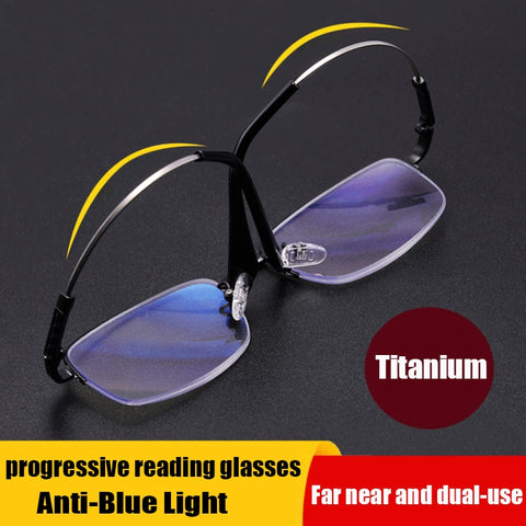 Memory Titanium Multifocal Reading Glasses Progressive Bifocal Anti Blue Ray UV Protect Presbyopic Glasses Half Frame Men Women