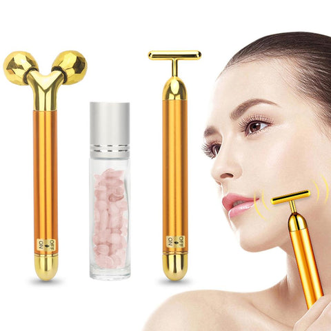 3 in 1 Energy Beauty Bar 24k Golden Vibrating Facial Roller Massager Face Lifting Anti-wrinkle Skin Care Gemstone Roller Ball