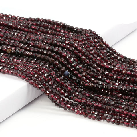 2 3mm Natural Faceted Red Garnet Stone Fine Gemstones Loose Beads DIY Accessories for Jewelry Necklace Bracelet Making 38cm