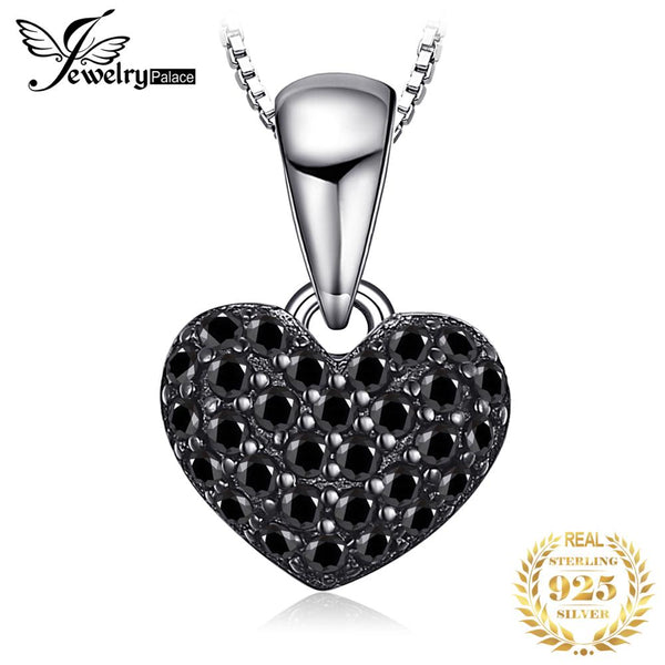 JPalace Heart Natural Black Spinel Pendant Necklace 925 Sterling Silver Gemstones Choker Statement Necklace Women No Chain