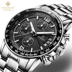 WISHDOIT Sports Watch Men's Luxury Watch Chronograph Watch Men's Watch Leather Strap Quartz Clock Waterproof Luminous Men's Fash