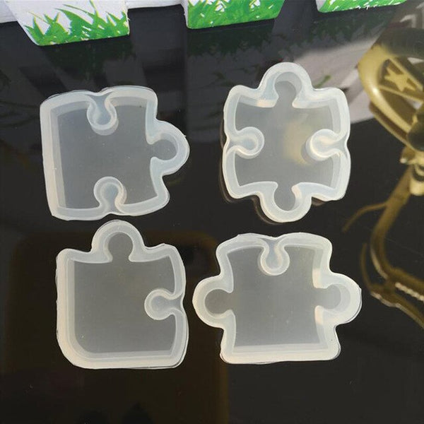 4pcs/set Puzzle Piece Gemstone Crystal Epoxy Resin Mold DIY Jewelry Pendant Making Tools Epoxy Clear Silicone Mould
