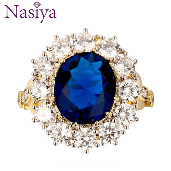 Nasiya New Design Romantic Luxury Ring Golden Color With 13x18MM Big Oval Sapphire Gemstones Fashion Fine Jewelry Wholesale