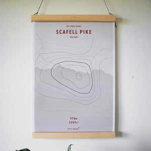 scafell pike mountain print recycled paper