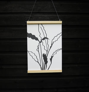hand illustrated house plant leaves in monochrome recycled paper