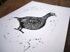 Mr Grouse Lino Print A4