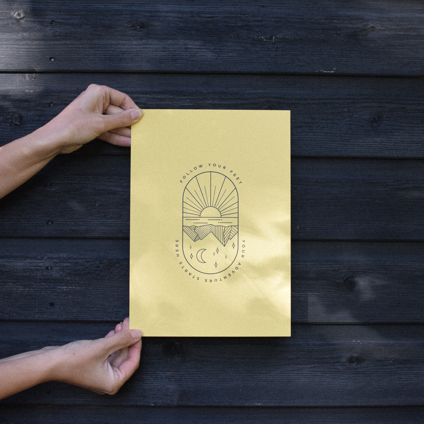 adventure follow your feet illustrated print in yellow recycled paper