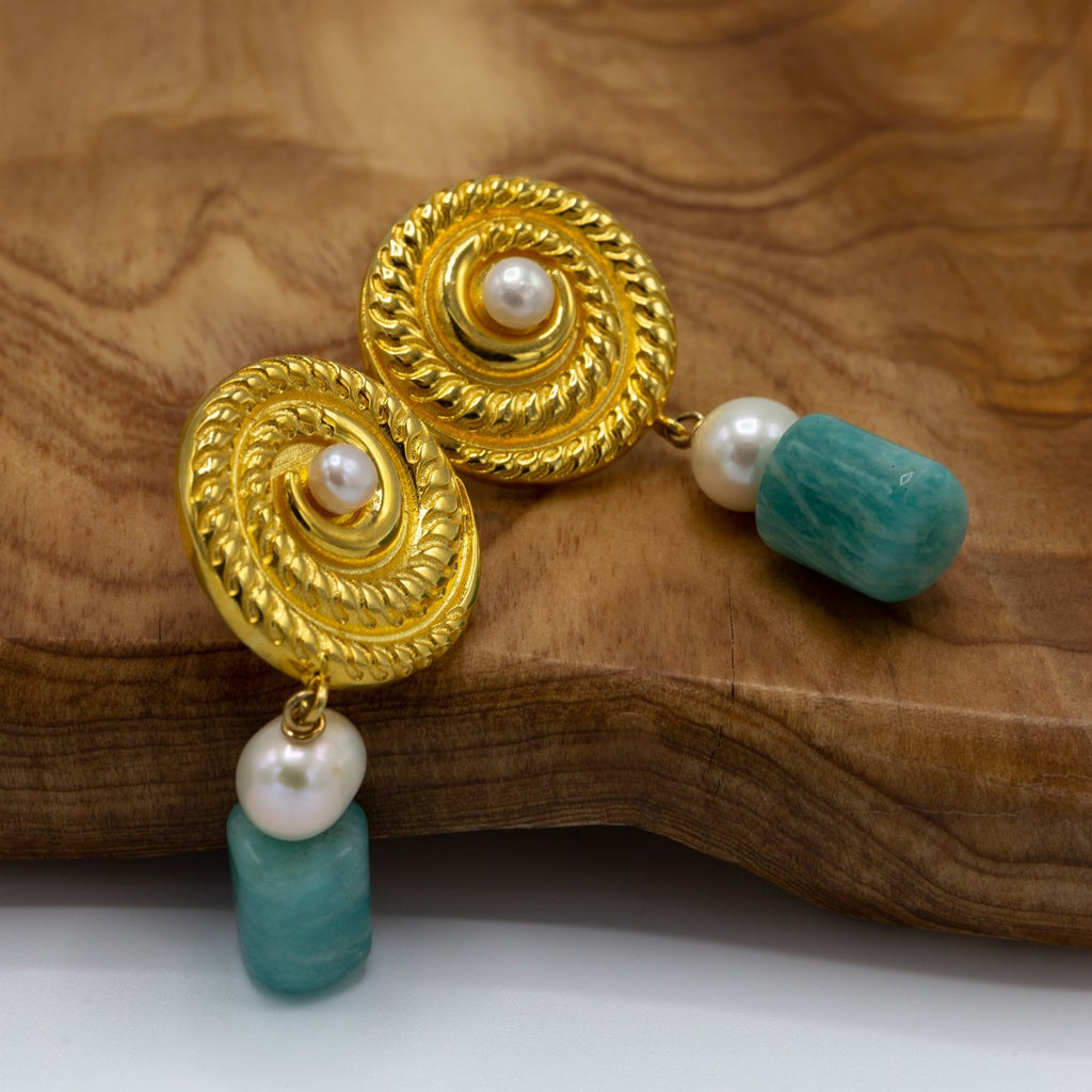 Earrings made of amazonite, freshwater pearls, gold plated silver round disc