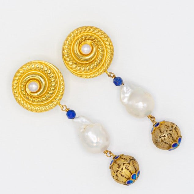 Earrings made of lapis lazuli, freshwater and baroque pearls, gold plated silver round disc and a special touch of goldplated Chinese enamel ball for that final 'queen' like touch