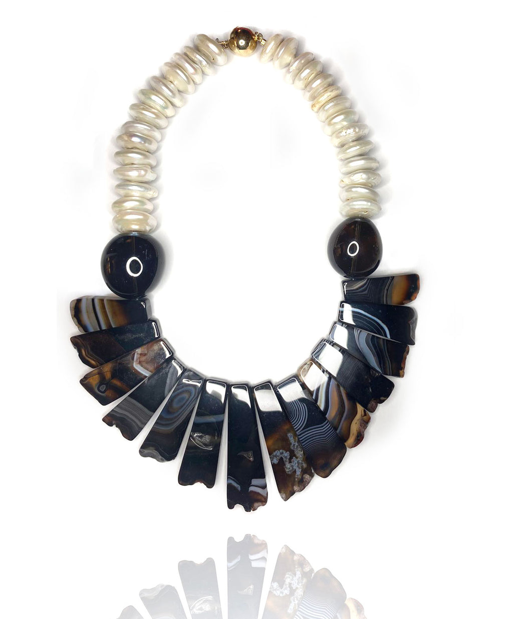 Exotic, tribal style necklace inspired by travel to the 'wilderness'. Mix of shell pearls, black and caramel agate chunks, smokey quartz and gold plated silver magnetic clasp. Dare to wear this adventurous yet stylish statement piece.
