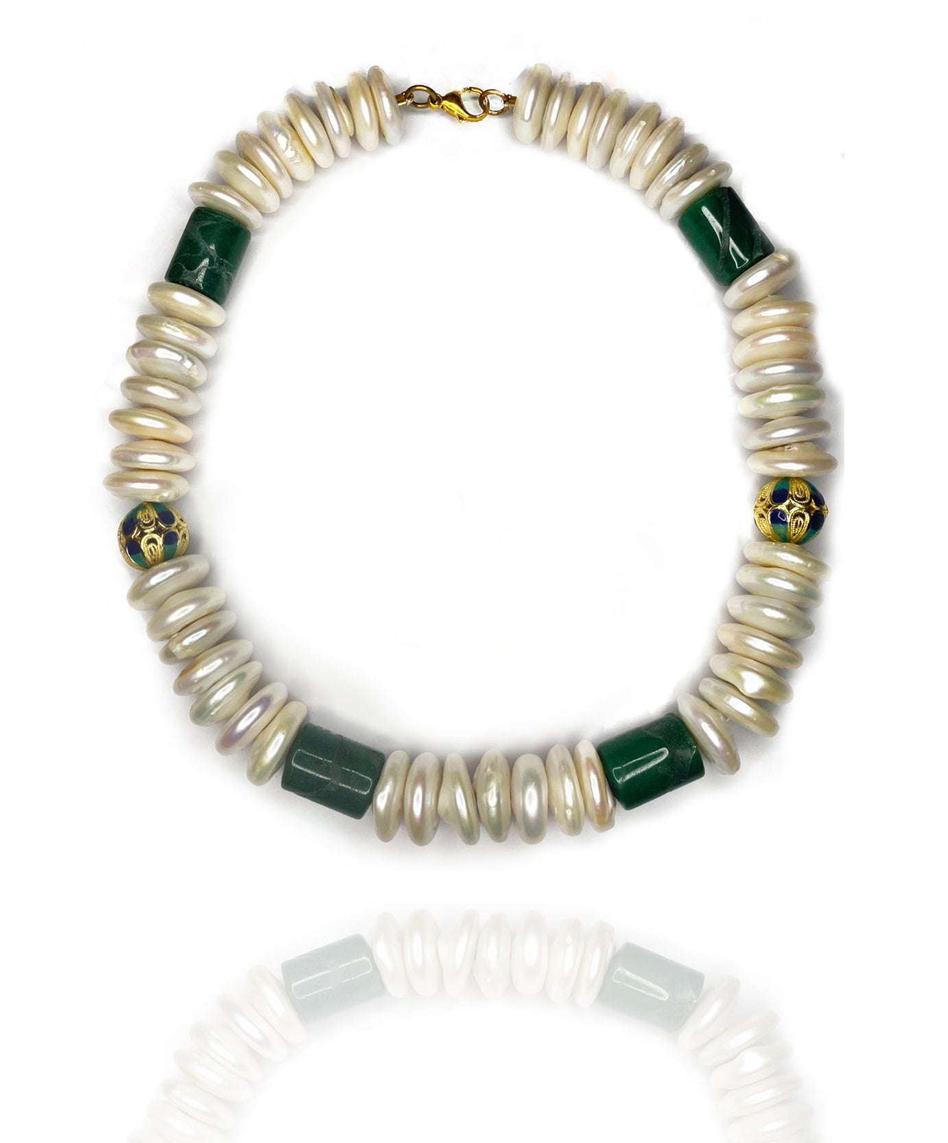 Welcome to the magical garden of lovingly designed combination of shell pearls, jade and enamel in sterling silver. East to wear and match almost every outfit.