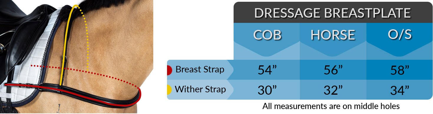 STRAIGHT DRESAGE BREASTPLATE MEASUREMENT CHART
