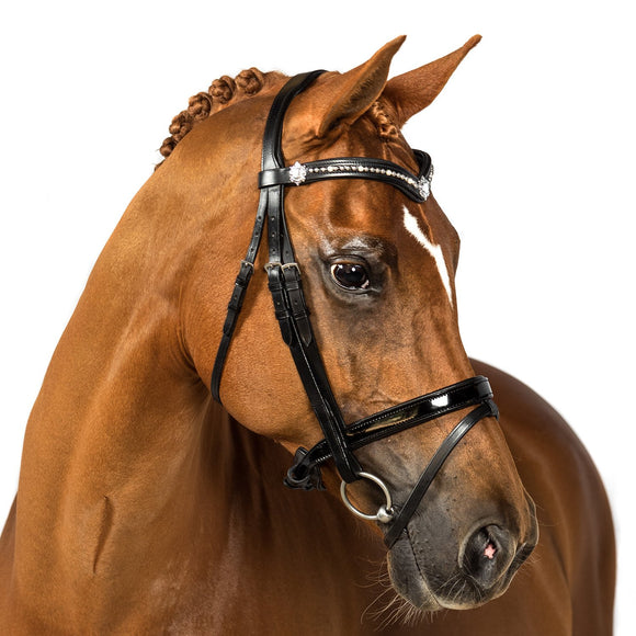 Black Snaffle Bridle 'Quarantina' - Flexible Fit Equestrian LLC