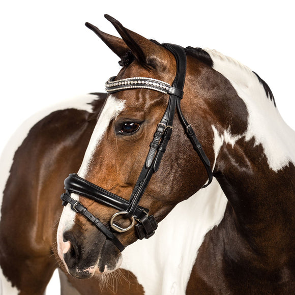 Black Snaffle Bridle 'Veranique' - Flexible Fit Equestrian LLC