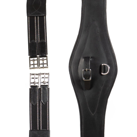 LONG GEL PADDED BELLY GIRTH - BLACK - Flexible Fit Equestrian LLC