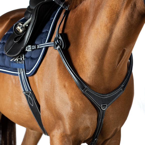 AR 5 POINT LEATHER BREASTPLATE - BLACK WITH BLUE AND WHITE ELASTICS - Flexible Fit Equestrian LLC