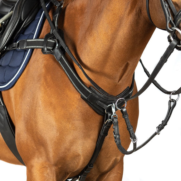 5 POINT BREASTPLATE - BLACK WITH BLACK AND SILVER ELASTIC - Flexible Fit Equestrian LLC