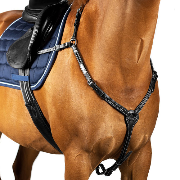 FANCY STITCH LEATHER BLACK BREASTPLATE - Flexible Fit Equestrian LLC