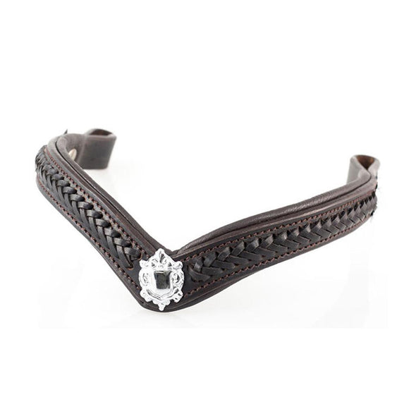 PLAITED WITH SHIELDS V SHAPE - HAVANA BROWBAND - Flexible Fit Equestrian LLC