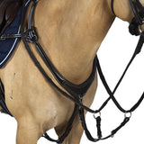 AR 5 POINT LEATHER BREASTPLATE - HAVANA BROWN WITH BLUE AND WHITE ELASTICS