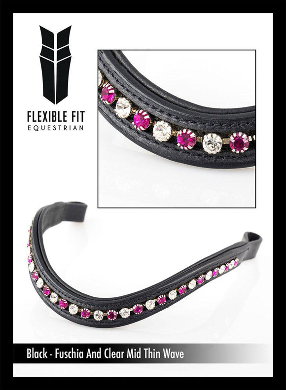 FUSCHIA AND CLEAR MID THIN WAVE - BLACK BROWBAND