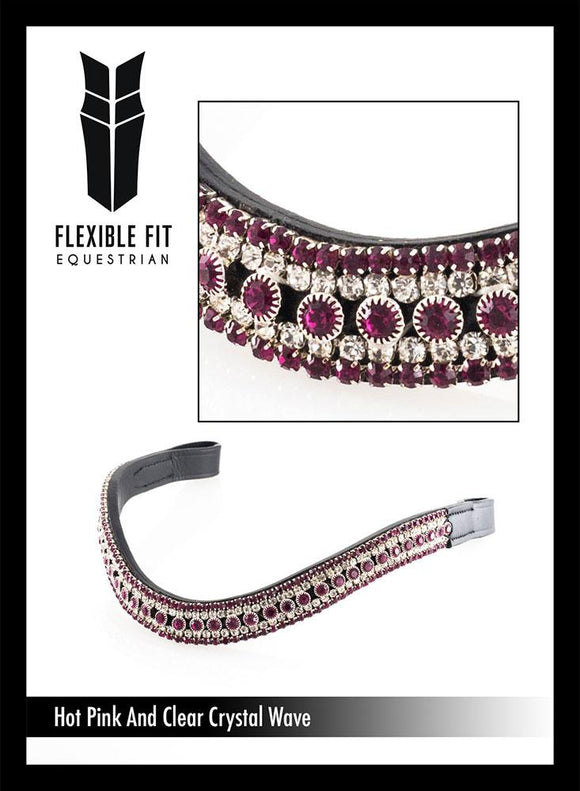 HOT PINK AND CLEAR WAVE - BLACK BROWBAND