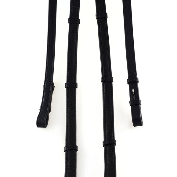 LEATHER REINS WITH CONTINENTAL STOPPERS BLACK REINS