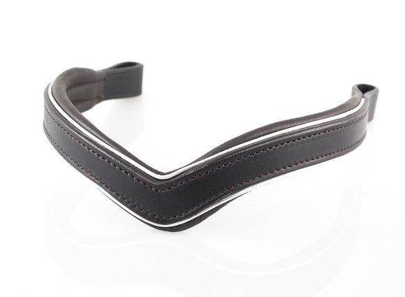 PLAIN V SILVER PIPE FLAT - HAVANA BROWBAND - Flexible Fit Equestrian LLC