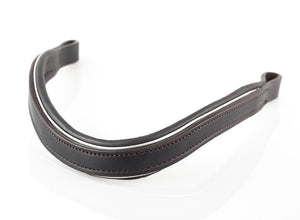 FLAT SILVER PIPE WAVE - HAVANA BROWBAND - Flexible Fit Equestrian LLC