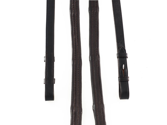 PADDED LEATHER 5/8 WIDE HAVANA REINS