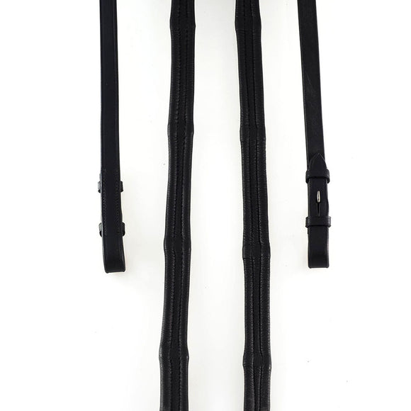 PADDED LEATHER 6/8 BILLETS BLACK REINS