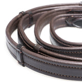 SHOW PADDED LEATHER WITH CONTINENTAL STOPPERS HAVANA REINS - Flexible Fit Equestrian LLC