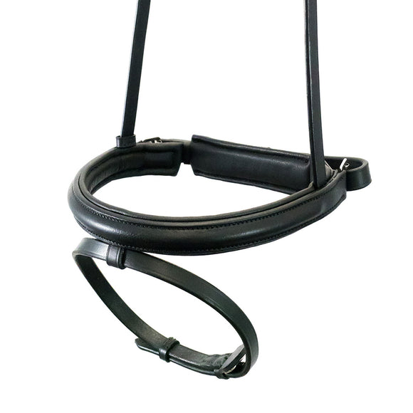 STRAIGHT RAISED PLAIN HANOVERIAN CRANK - BLACK NOSEBAND