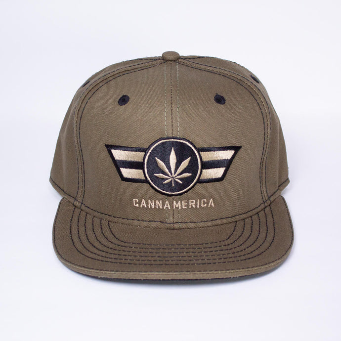 Army Green CannAmerica baseball cap Hat
