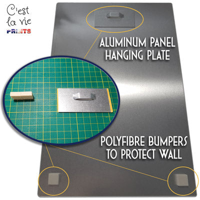 Metal Print Free Hanging System with Aluminum plate and bumpers for protecting the wall