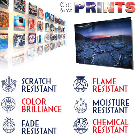 Metal Prints are Scratch, Flame, Fade, Moisture and Chemical Resistant printed on Chromluxe HD Aluminum