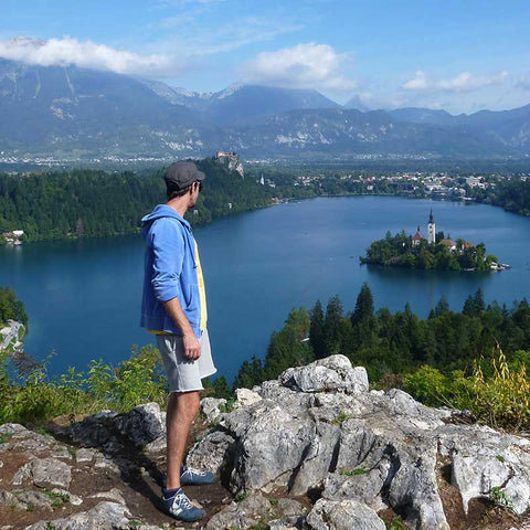 Richard standing above Lake Bled Slovenia