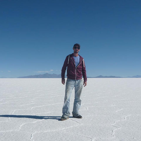 Richard on the world's largest salt lake Salar de Uyuni Boliva