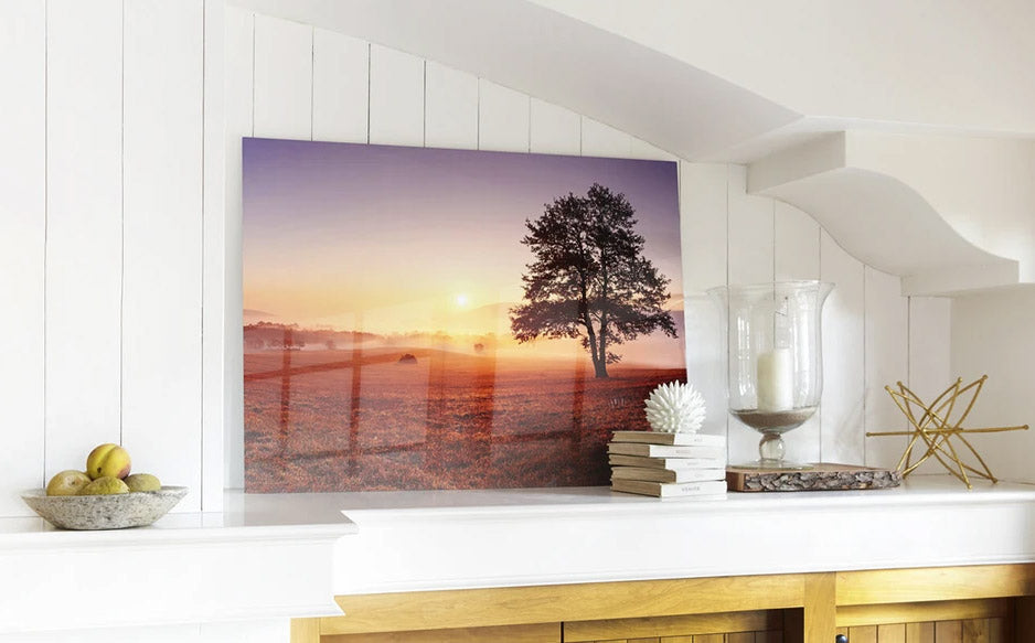 Custom Metal Print hanging on the nice white walls of a room