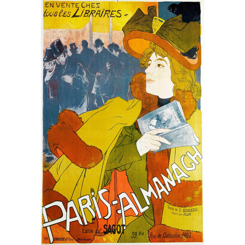 Paris Almanach Vintage Poster Print on Metal