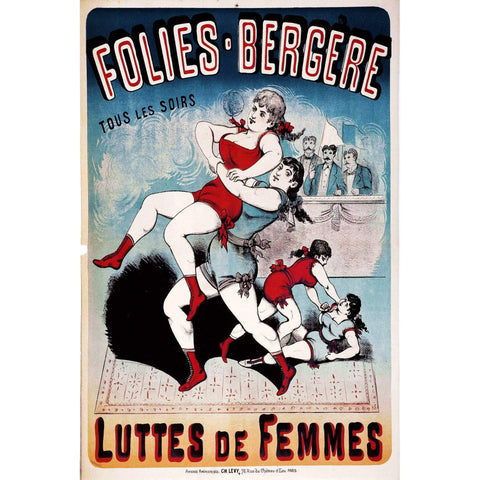 Folies Bergere Vintage French Poster Print on Metal