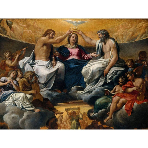Annibale Carracci - The Coronation of the Virgin Print on Metal