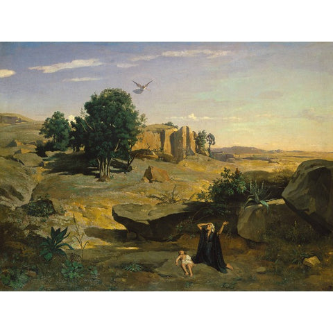 Metal Poster Print of Camille Corot - Hagar in the Wilderness from C'est La Vie Prints