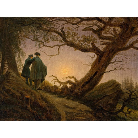Metal Poster Print of Caspar Friedrich - Two Men Contemplating the Moon from C'est La Vie Prints