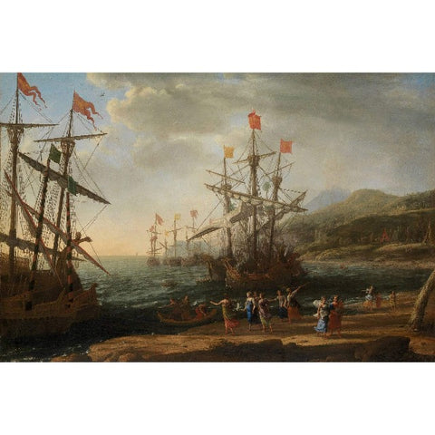 Claude Lorrain - Trojan Women Setting Fire to Their Fleet Print on Metal
