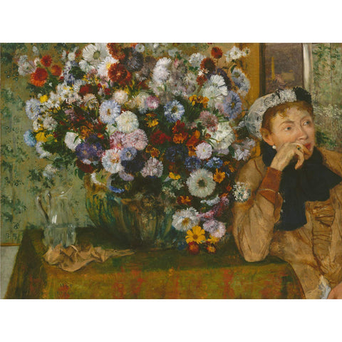Edgar Degas - A Woman Seated beside a Vase of Flowers Print on Metal