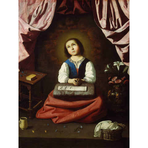 Metal Poster Print of Francisco de Zurbarán - The Young Virgin from C'est La Vie Prints
