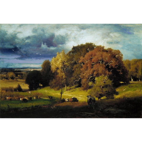 George Inness - Autumn Oaks Print on Metal