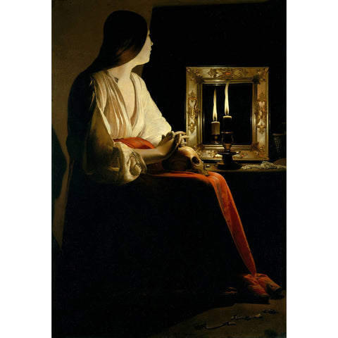 Georges de La Tour - The Penitent Magdalen Print on Metal