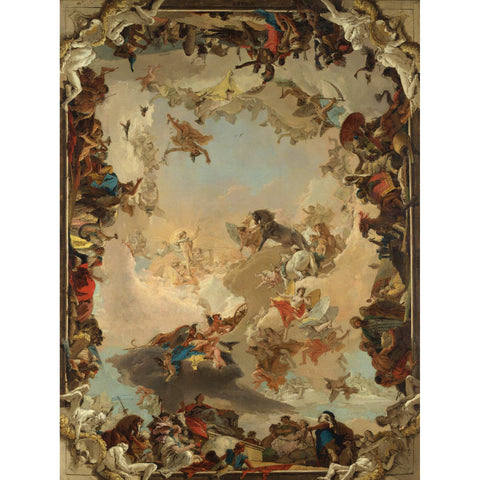 Metal Poster Print of Giovanni Battista Tiepolo - Allegory of the Planets and Continents from C'est La Vie Prints